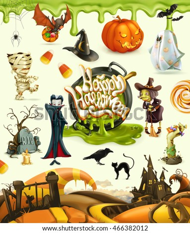 halloween 3d vector icons set