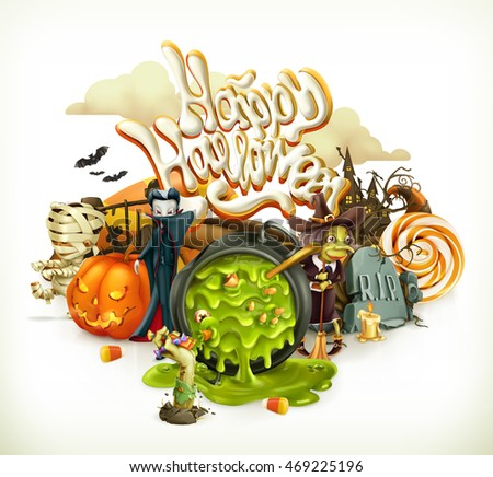 Halloween 3d vector invitation