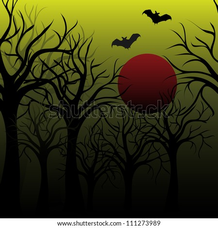 Halloween dark scenery with naked trees full moon and bats