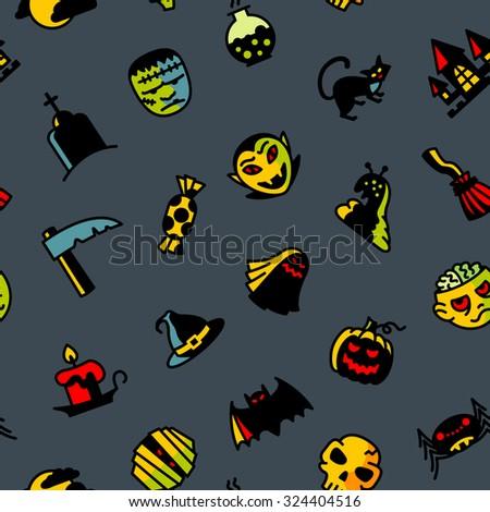 halloween dark seamless pattern