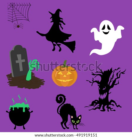 Halloween decor set. Witch, jack-o-lantern, ghost black cat zombie hands. Vector illustration