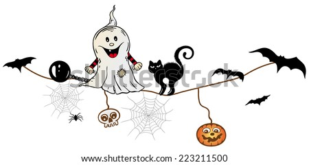 halloween decoration ghost with bats and black cat