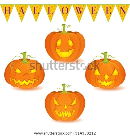 Halloween decoration Jack O Lantern vector set on white background Pumpkins designs with different facial expressions Could be used as icons or separate design elements