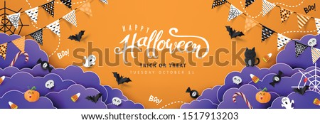 """Halloween Decorative Border made of Festive Elements Background and """"Halloween"""" text Calligraphic Lettering Vector illustration."""