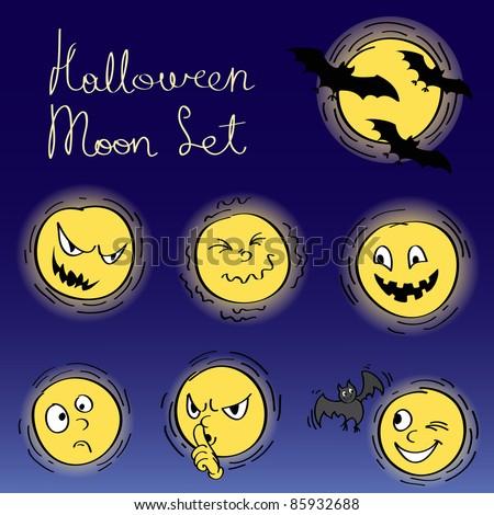Halloween decorative set of moon elements