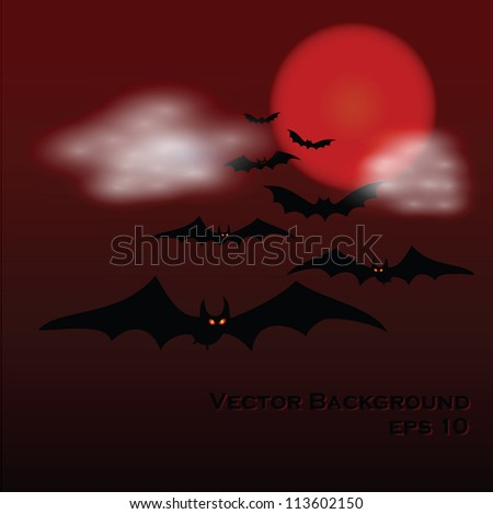 Halloween design background with red moon and bats