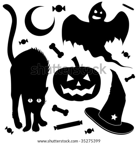 Halloween design elements silhouette set.  Includes black cat, jack o lantern pumpkin, ghost, and witch's hat.
