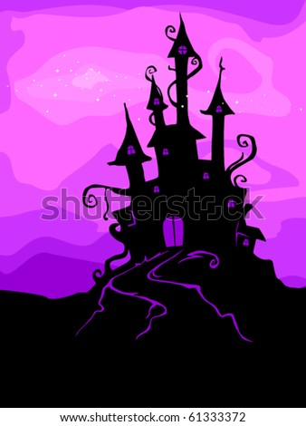 Halloween Design Featuring the Silhouette of a Haunted Castle - Vector
