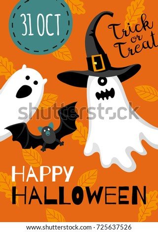 Halloween design. Invitation or greeting card. Banner template. Flat style vector illustration. Cute characters. Ghost in hat. #725637526
