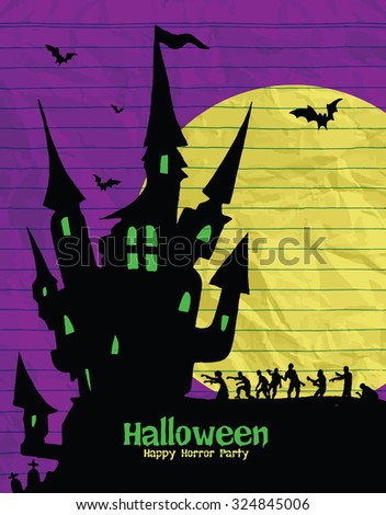 halloween design template spooky landscape with castle zombie