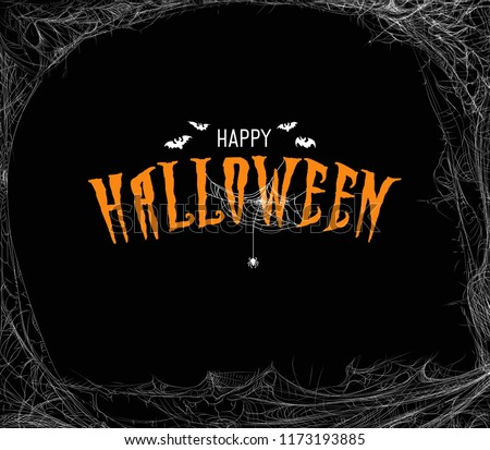 Halloween design template with cobweb and incription