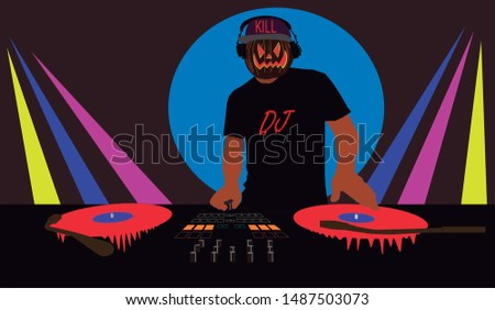 Halloween Disc Jockey mixing music while the discs bleed