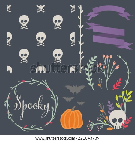 Halloween DIY kit Hand drawn vector design elements and matching seamless pattern