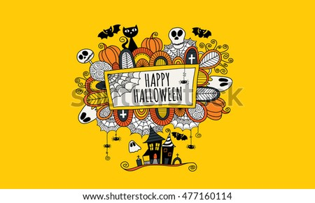 Halloween doodle vector illustration with the words happy halloween surrounded by skulls, bats, pumpkins, ghosts, cobwebs and abstract shapes on yellow background