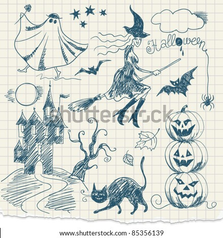 Halloween doodles, hand drawn
