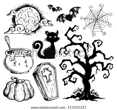 Halloween drawings collection 2 - vector illustration.