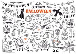 Halloween Drawings Vector Set  of  Design Elements