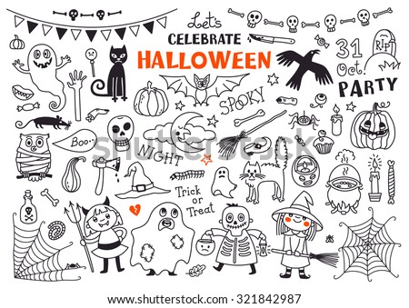 Halloween Drawings Vector Set  of  Design Elements