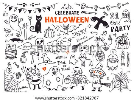 halloween drawings vector set