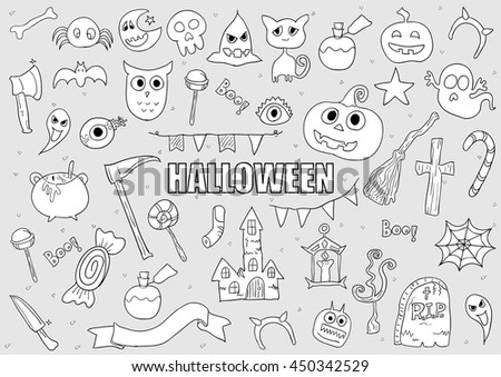 halloween drawings vector set of design elements doodles elements background drawing by hand vector - Pictures Of Halloween Drawings