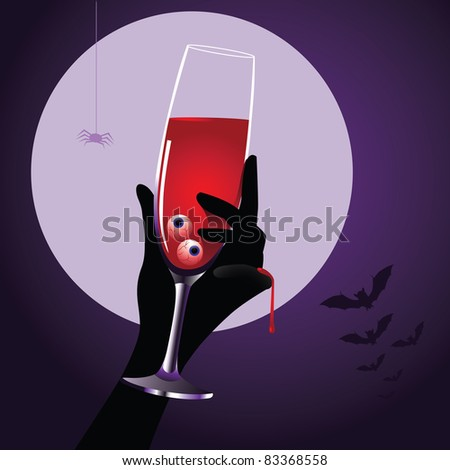 Halloween Drink An elegant glass of blood with eyeballs. Vector illustration. Grouped for easy editing.