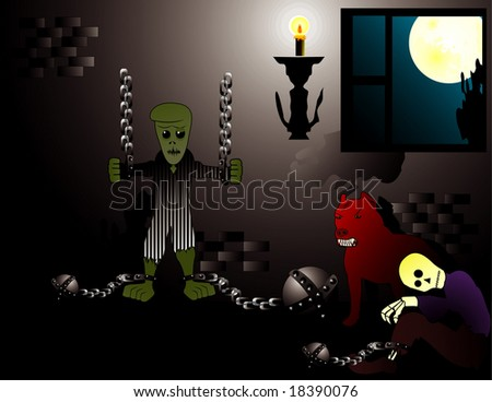 halloween dungeon vector