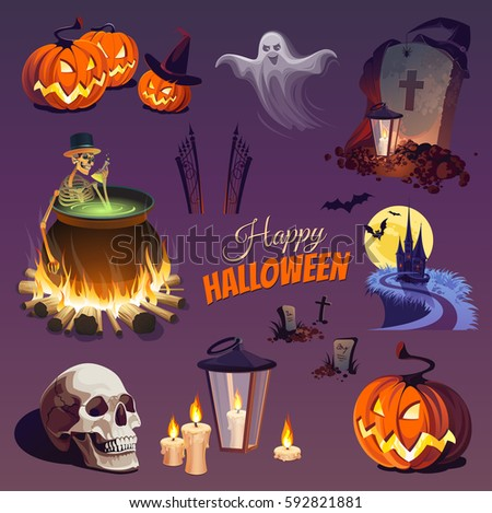 halloween elements and objects