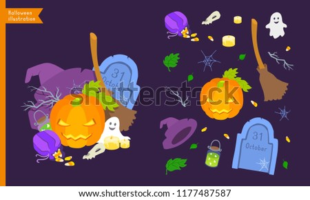 Halloween elements icon collection. Vector flat design style illustration set. Autumn holidays All Saints' Day, Hallows' Evening, Eve, 31 October. Pumpkin lantern, broom, hat, gravestone, spider web.