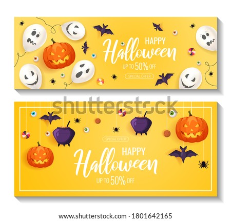 Halloween elements lying or hanging on the yellow background. Halloween banners. Vector illustration.