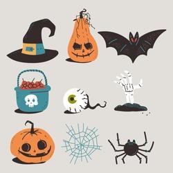 Halloween elements vector cartoon set isolated on background.