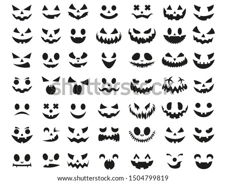 Halloween face icon set. Spooky pumpkin smile on white background.  Design for the holiday Halloween. Vector illustration.