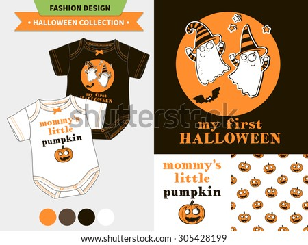 Stock Photo Halloween fashion set for babies and kids,  vector artworks and seamless patterns with cartoon funny pumpkin, ghosts, vampire bats, stars and words 'mommy's little pumpkin', 'my first Halloween'.
