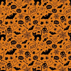 Halloween festive seamless pattern. Orange endless background with cat, pumpkins, skulls, bats, spiders, ghosts, bones, candies, spider web and speech bubble with boo