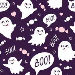 Halloween festive seamless pattern. Violet endless background with smiling cute ghosts, candies and speech bubble with boo
