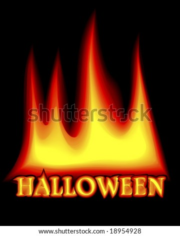Halloween flames on black background