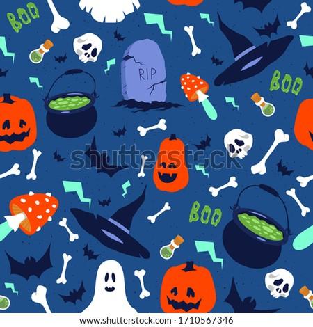 halloween flat seamless pattern