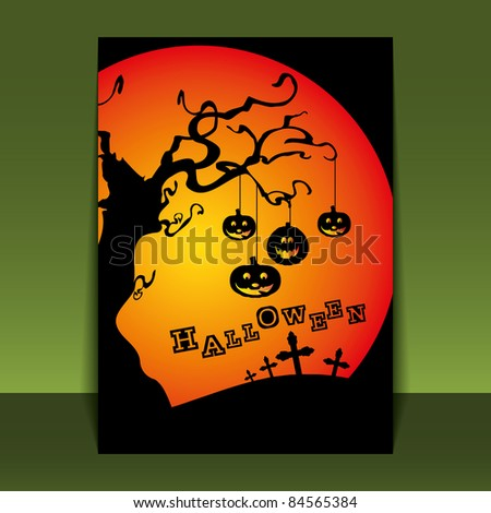 Halloween Background, Flyer Or Cover Design Template With ...