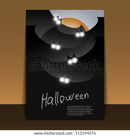 Halloween Flyer or Cover Design - Dark Bats with Glowing Eyes Flying