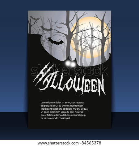 Halloween Flyer or Cover Design with Flying Bats Over the Foggy Autumn Forest of Bare Trees