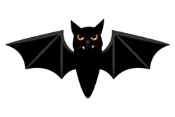 Halloween flying bat isolated on white background. Scary eyes vampire vector bat