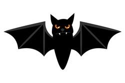Halloween flying bat isolated on white background. Scary eyes vampire vector bat