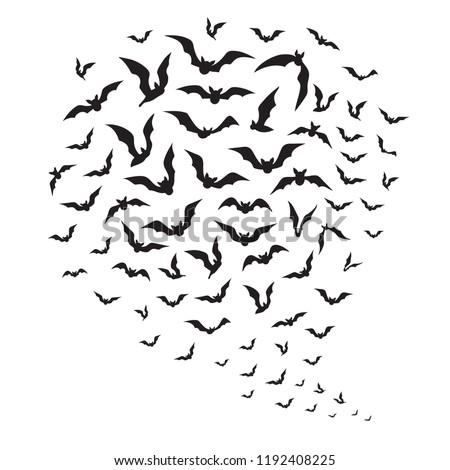 halloween flying bats swarm of