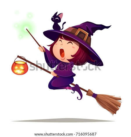Halloween flying little witch. Girl kid in Halloween costume holds a magic wand. Isolated.