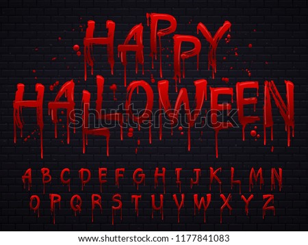 Halloween font. Horror alphabet letters written blood, scary bleed font or evil night wet bloody autumn wet paint abc sign text, calligraphy isolated vector symbols illustration