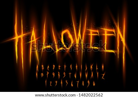 Halloween font, Letters and Numbers, vector eps10 illustration