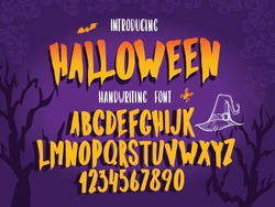 Halloween font. Typography alphabet with colorful spooky and horror illustrations. Handwritten script for holiday party celebration and crafty design. Vector with hand-drawn lettering.