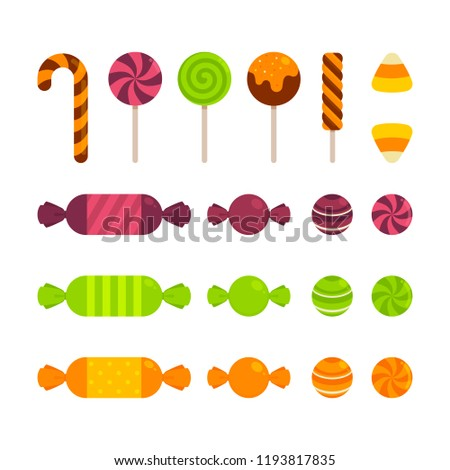 Halloween - Food - Candy - Flat Icon Set - Sweet Candies Isolated on White Background