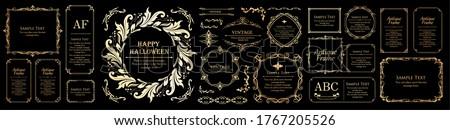 Halloween frame material, October, antique decoration, vintage pattern, plant ivy