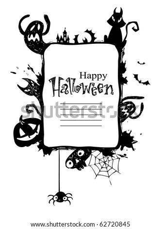 Halloween Frame with vector Silhouettes of an Owl Jack o Lanterns Bats cat ghosts
