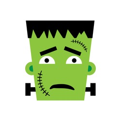 Halloween Frankenstein Vector illustration. Sad Frankenstein Day. Illustration for kids, card Halloween, print.